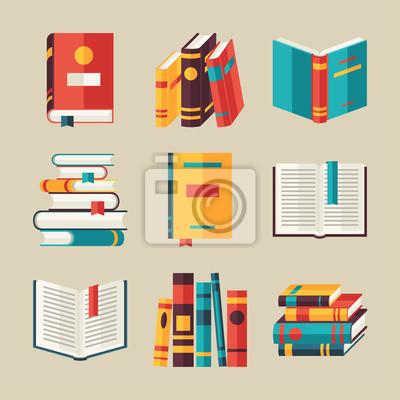 Obraz Zestaw ikon w płaskiej książkowych stylu projektowania.