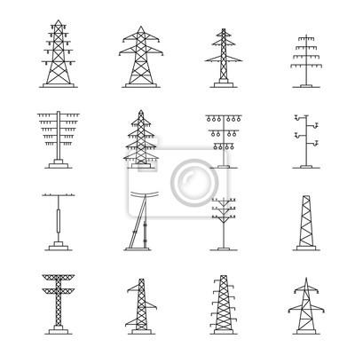Obraz Zestaw ikon wysokiego napięcia elektryczne wieża. Zarys ilustracji 25 ikon wektorowych wysokiego napięcia wysokiego napięcia dla sieci web