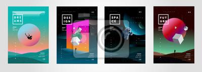 Obraz Zestaw ilustracji wektorowych streszczenie gradientu, tła na okładkę czasopism o marzeniach, przyszłości, designie i przestrzeni, fantazyjnych, szalonych plakatach