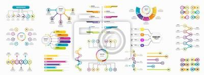 Obraz Zestaw infografiki elementy wizualizacji danych szablonu projektu edytowalny wektor