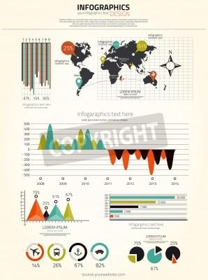 Zestaw infografiki. Mapa świata i grafika informacyjne. Wektor