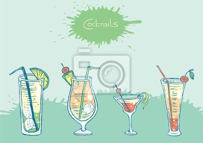 Zestaw izolowanych kolorowych drinków i koktajli szkicu. Wektor