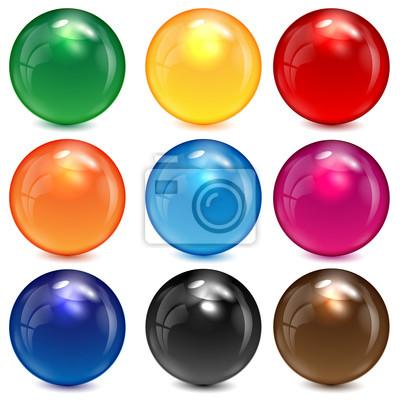 Obraz zestaw kolorowych kulek na białym tle