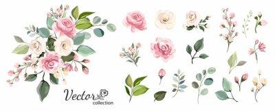 Obraz Zestaw kwiatowy oddział. Kwiat różowa róża, zielone liście. Ślubny pojęcie z kwiatami. Plakat kwiatowy, zapraszam. Wektor aranżacje na kartkę z życzeniami lub projekt zaproszenia