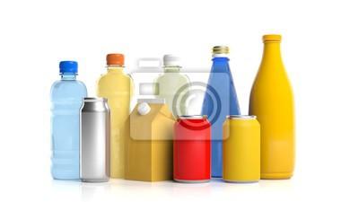 Obraz Zestaw napojów produktów na białym tle. 3d ilustracji