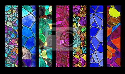 Obraz Zestaw pasków z witrażami wzór