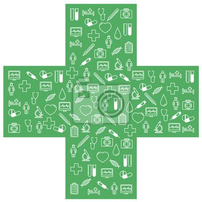 Obraz Zestaw pierwszej pomocy medycznych ikony. Ilustracji wektorowych w liniowej (płaskiej) projektu.