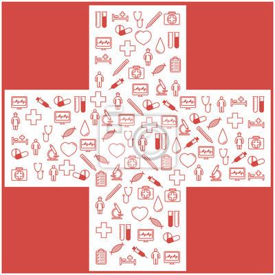 Zestaw pierwszej pomocy medycznych ikony. Normalny (płaskim) projektowanie.