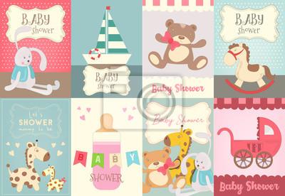 Zestaw plakatów baby shower. Ilustracji wektorowych.