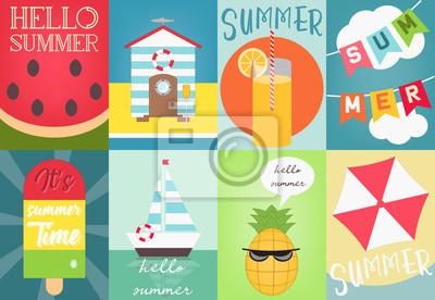 Zestaw plakatów letnich. Ilustracji wektorowych.