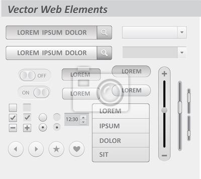 Zestaw płaskich białych elementów interfejsu użytkownika i UX
