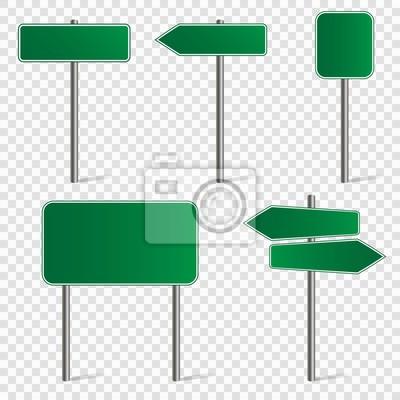 Obraz Zestaw pustych znaków drogowych izolowanych na przezroczystym tle. Ilustracji wektorowych.