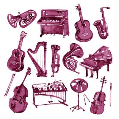Obraz Zestaw ręcznie rysować akwarele instrumentów muzycznych Burgundii wina