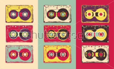 Obraz Zestaw retro kaset audio, w stylu pop-art. Grafika wektorowa.