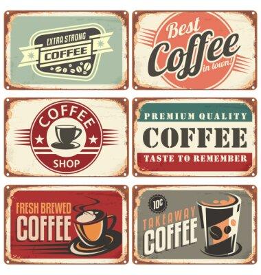 Obraz Zestaw rocznika kawy znaki cyny