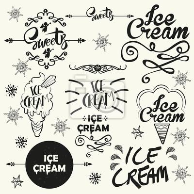 Zestaw rocznika lodziarnia logo naszywki i etykiety.