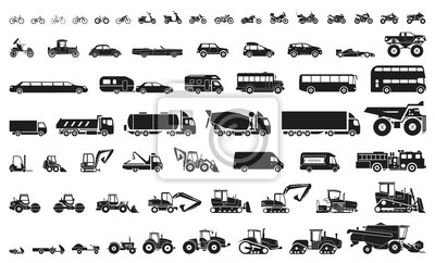Obraz Zestaw różnych maszyn transportowych i budowlanych. Ikony motocykli i rowerów, samochodów, ciężkich ciężarówek, pojazdów ciężarowych i autobusów.