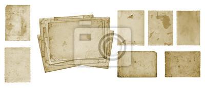 Obraz Zestaw starych pocztówek brudne zdjęcie na białym tle