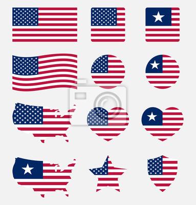 Obraz Zestaw symboli flagi USA, ikony flagi narodowej Stanów Zjednoczonych
