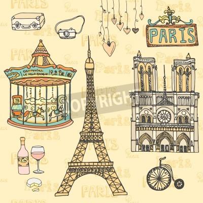 Obraz Zestaw symboli wektora Paris dokonanych w. Wieża Eiffla, Moulin Rouge, Notre Dame De Paris, wino, ser.