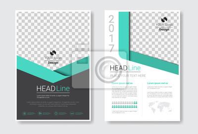Obraz Zestaw szablonów broszur, raport roczny, magazyn, plakat, kolekcja prezentacji firmowych, portfolio, ulotka z ilustracją miejsca na kopię