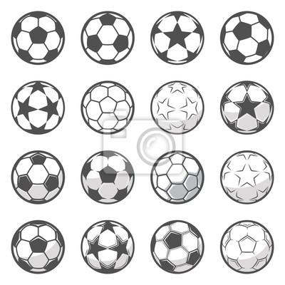 Obraz Zestaw szesnastu monochromatycznych piłki nożnej. Piłka nożna lub piłka nożna. Kolekcja symbol piłki nożnej