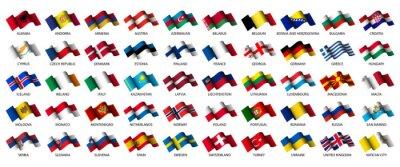 Obraz zestaw wszystkich europejskich flag na białym tle