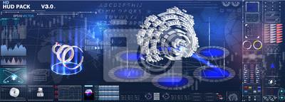Zestaw wykresów i wykresów. Statystyki i dane, informacje i infografiki. Tło HUD przestrzeni kosmicznej. elementy plansza. Futurystyczny interfejs użytkownika Sci Fi.