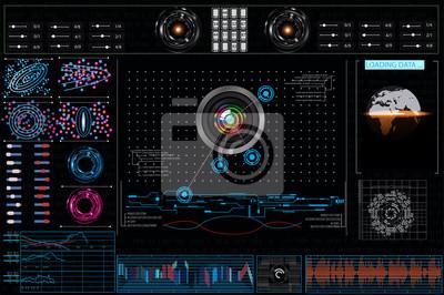 Zestaw wykresów i wykresów. Statystyki i dane, informacje i infografiki. Tło HUD przestrzeni kosmicznej. elementy plansza. Futurystyczny interfejs użytkownika Sci Fi. Biznes abstrakcyjne tło.