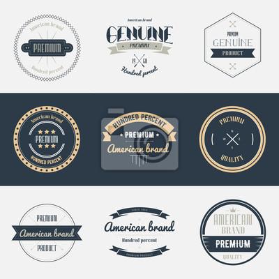 Zestaw wysokiej jakości etykiet. Elementy projektu marki, emblematy, logo, plakietki i naklejki. Ilustracji wektorowych.