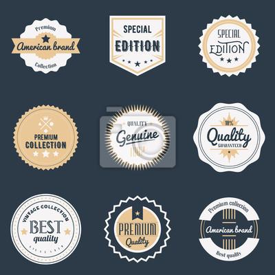 Zestaw wysokiej jakości etykiet. Elementy projektu marki, emblematy, logo, plakietki i naklejki. Izolowane ilustracji wektorowych