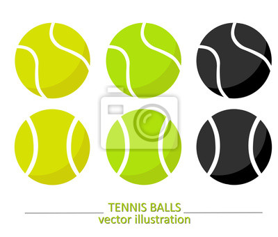 Obraz Zestaw żółtych, zielonych i czarnych kulek tenisowych. Wzór wektora teatru. Sport, fitness, ilustracji wektorowych działalności.