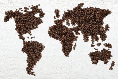 Obraz Ziaren kawy Mapa Świata