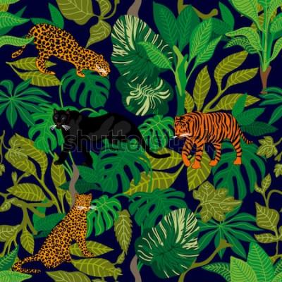Obraz Zielona dżungla. Bezszwowe wektor wzór z tropikalnymi palmami, tygrysy pantery i lamparty. Kolekcja tekstyliów Safari.