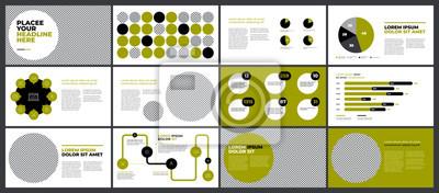 Zielona prezentacja szablonu projektu. Wykresy danych biznesowych. Wektorowe wykresy finansowe i marketingowe.