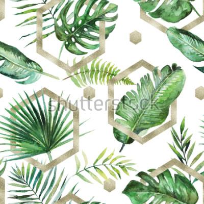 Obraz Zielona tropikalna palma & paproć opuszcza z złocistymi geometrycznymi kształtami na białym tle. Akwarela ręcznie malowany wzór. Tropikalna ilustracja. Liście dżungli.