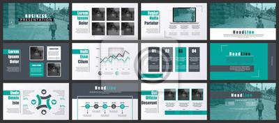 Obraz Zielone i czarne szablony prezentacji slajdów z elementów infograficznych. Może służyć do prezentacji, ulotki i ulotki, broszury, marketingu, reklamy, raportu rocznego, bannera, broszury.