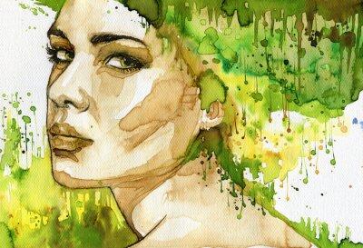 Obraz zielone kobieta