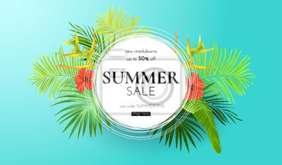 Obraz Zielone lato tropikalny tło z egzotycznych liści palmowych i kwiatów hibiskusa. Kwiatowy tło wektor Szablon banner sprzedaży lub ulotki.