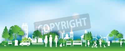 Obraz Zielone miasto ekologiczne i życie papieru stylu sztuki, krajobrazu miejskiego i fabryki przemysłowych concept.vector ilustracji