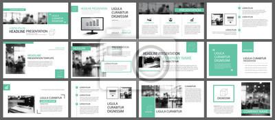 Obraz Zielone szablony prezentacji dla slajdów infografiki elementy tła. Skorzystaj z rocznego raportu biznesowego, projektu ulotki, marketingu korporacyjnego, ulotki, reklamy, broszury, nowoczesnego stylu.