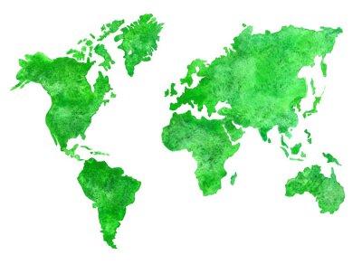 Obraz Zielony akwarela mapie