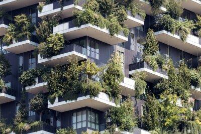 Obraz Zielony futurystyczny wieżowiec; Architektury i natury