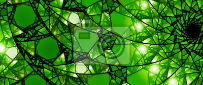 Obraz Zielony świecące witraże 8k panoramiczne tło