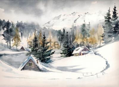Obraz Zimowy krajobraz z górskiej wioski pokryte śniegiem. Obraz stworzony akwarelami na papierze.
