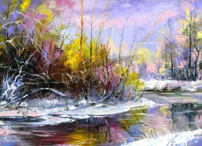 Obraz Zimowy krajobraz z rzeką drewna
