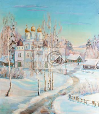 Obraz Zimowy krajobraz z świątyni