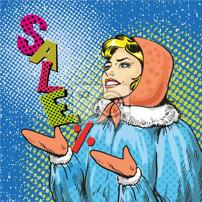 Zimowy urlop sprzedaż koncepcji ilustracji wektorowych w stylu pop-art