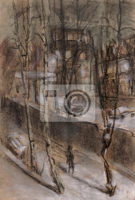 Obraz Zimowy wieczór w mieście