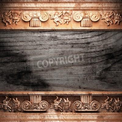 Obraz Złota ozdoba z drewna wykonane w 3D